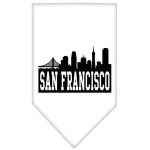 San Francisco Skyline Screen Print Bandana White Large