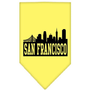 San Francisco Skyline Screen Print Bandana Yellow Large