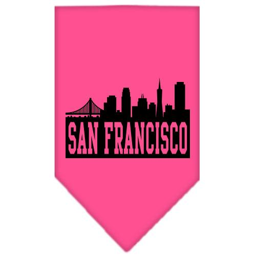 San Francisco Skyline Screen Print Bandana Bright Pink Small
