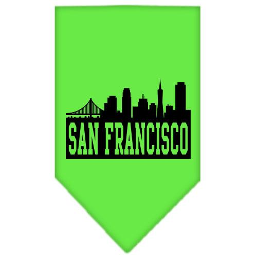 San Francisco Skyline Screen Print Bandana Lime Green Small