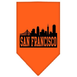 San Francisco Skyline Screen Print Bandana Orange Small