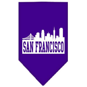 San Francisco Skyline Screen Print Bandana Purple Small