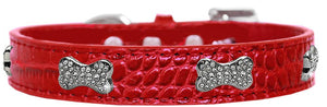 Croc Crystal Bone Dog Collar Red Size 18