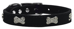 Crystal Bone Genuine Leather Dog Collar Black 18