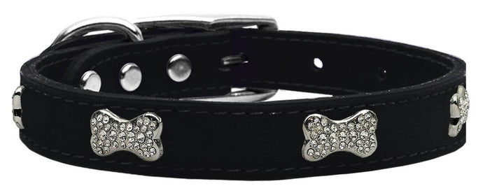 Crystal Bone Genuine Leather Dog Collar Black 22