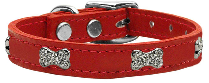 Crystal Bone Genuine Leather Dog Collar Red 10