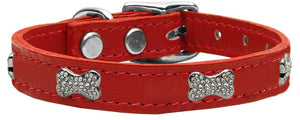 Crystal Bone Genuine Leather Dog Collar Red 24