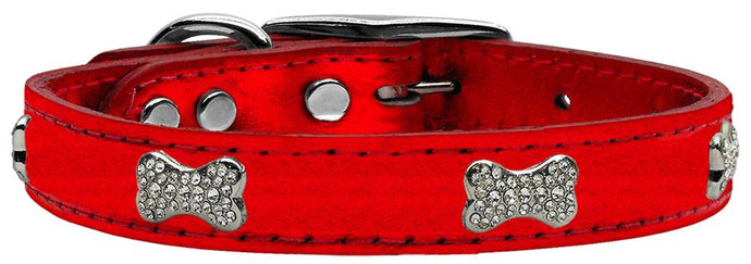 Crystal Bone Genuine Metallic Leather Dog Collar Red 18