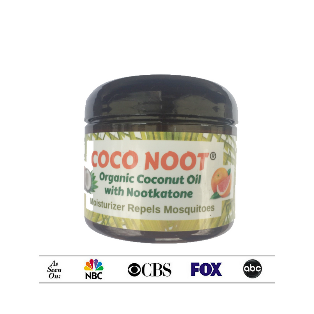 As seen on NBC, CBS, FOX, ABC, Coco-Noot brand of organic coconut oil with nootkatone repels ticks and mosquitoes