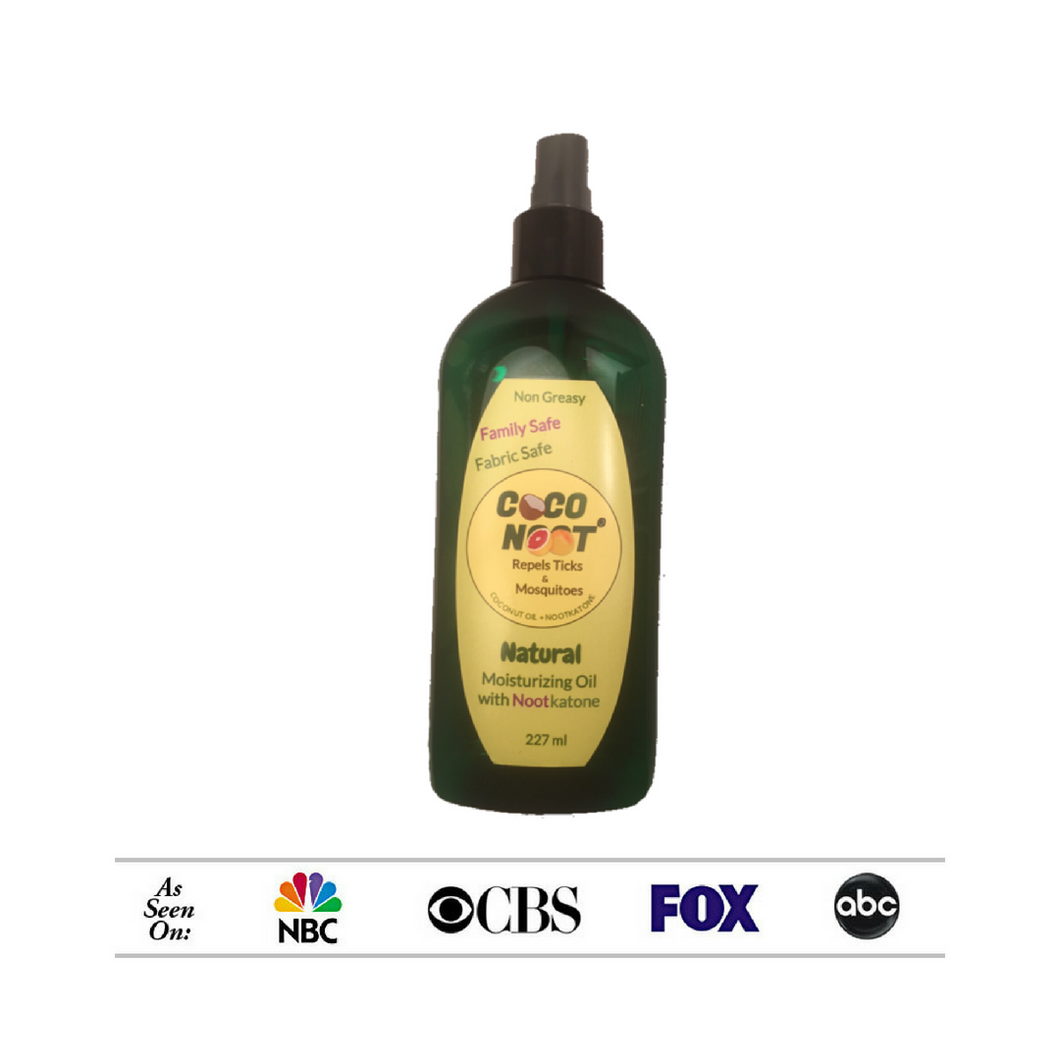 As seen  on NBC, CBS, FOX, ABC, this spray bottle of natural moisturizing oils contains nootkatone and repels mosquitoes and ticks