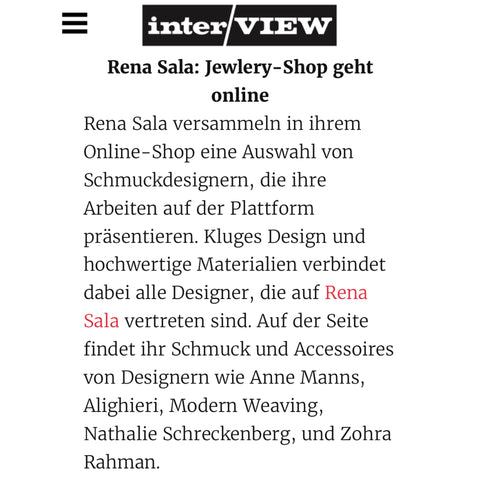 Rena Sala store mention in Interview Germany
