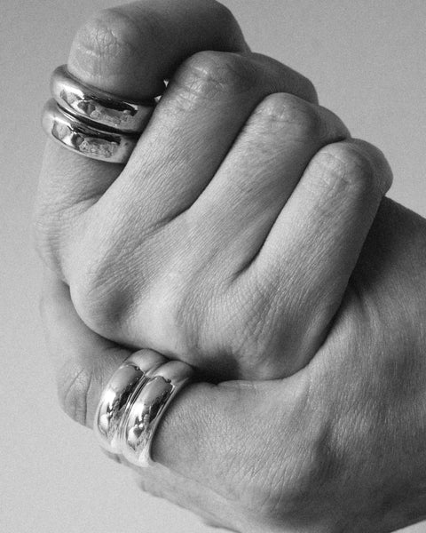 Alma stack rings in Silver & Gold