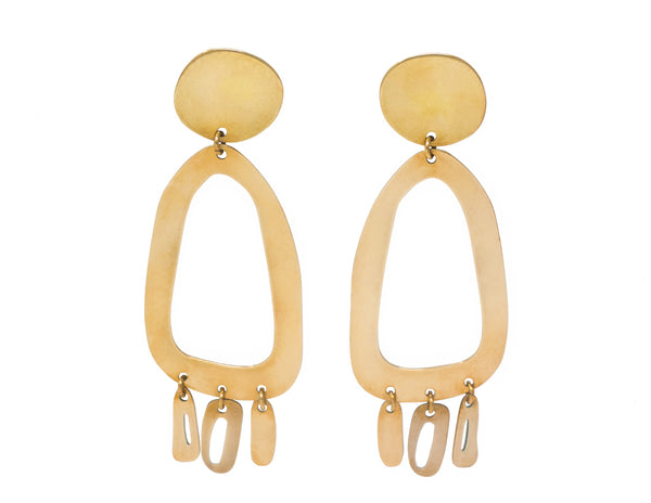 Modern Weaving Odd Oval brass earrings for Rena Sala store