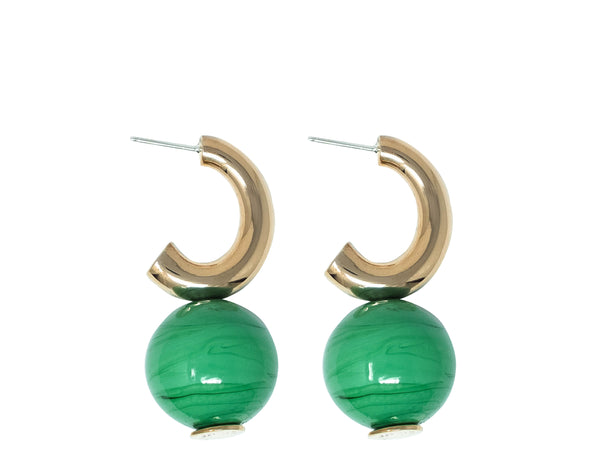 Italian blown glass earrings in Mustard & Vert