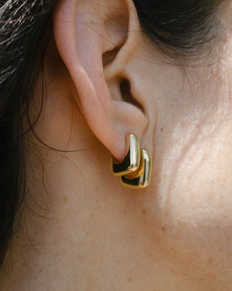 Mini J-stack earrings in Gold & Silver