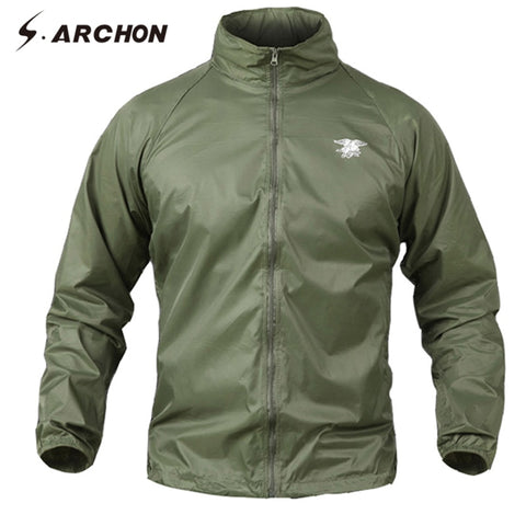 S.ARCHON Summer Waterproof Quick Dry Tactical Jackets Men Windbreaker Hooded Military Camouflage Jacket Thin Skin Army Clothing