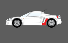 Vauxhall VX220 / Opel Speedster 2000-2005, Rear Sill Skirt Arch Section CLEAR Paint Protection
