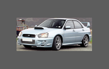Subaru Impreza WRX 2002-2005, Door Mirror Covers CLEAR Paint Protection