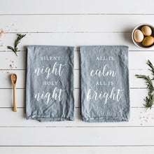 Gray Linen Christmas Tea Towels