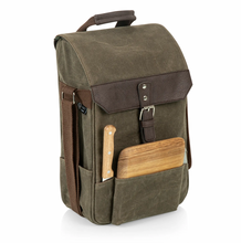 2 Bottle Insulated Wine & Cheese Bag - Khaki Waxed Canvas