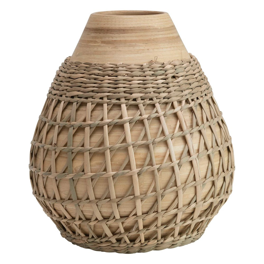 Bamboo Vase with Sea Grass Weave