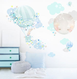 Hot Air Balloon Wall Sticker - BOY -  3 weeks delivery