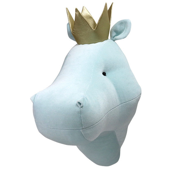 Hippo Head with Crown Blue - 3 weeks delivery