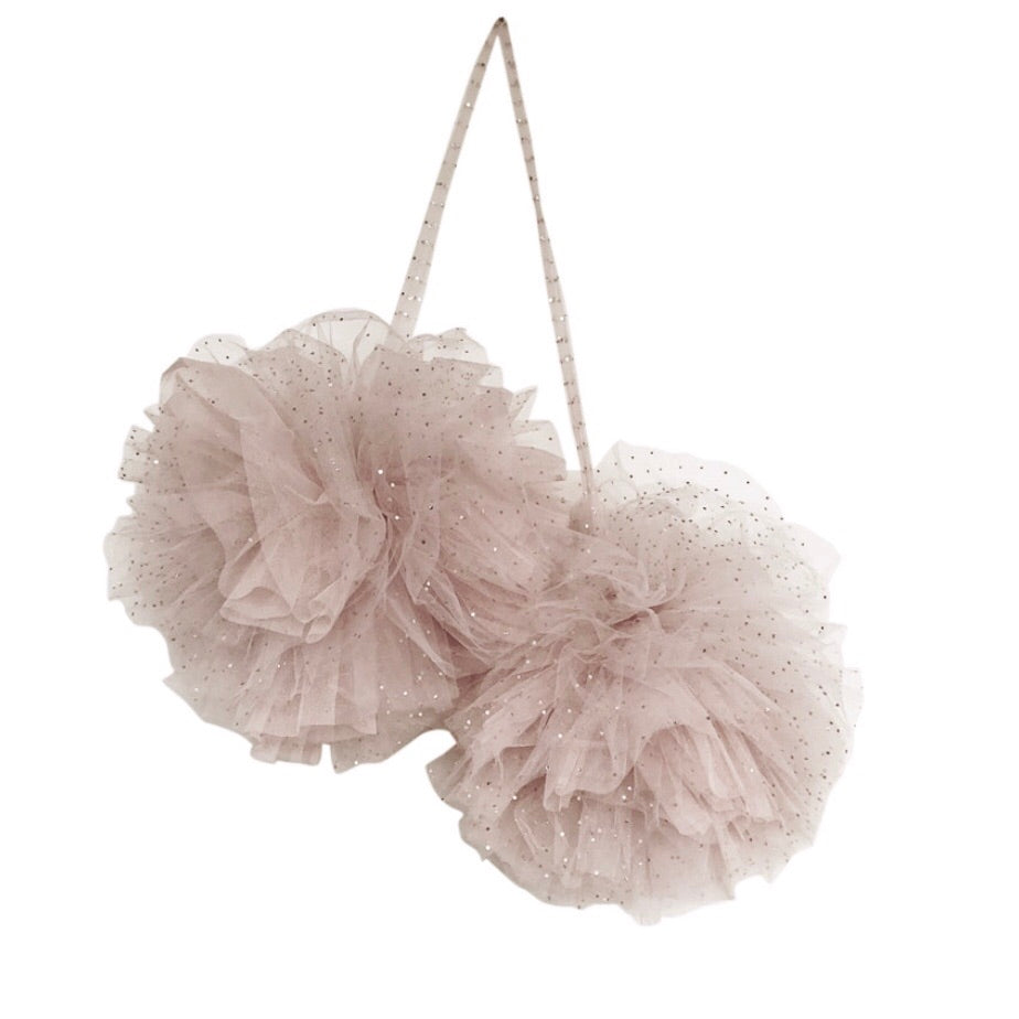 Large Sparkle Pom Garland in Champagne -In stock