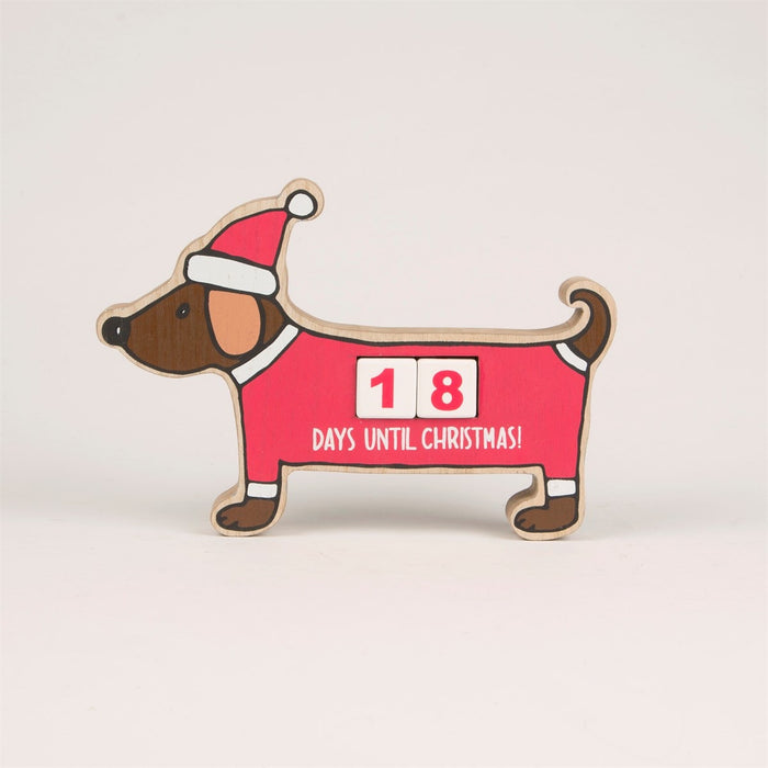 Christmas Dachshund Countdown Blocks - In Stock