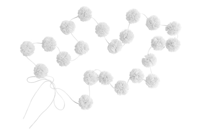 Mini Pom-Poms Garland in White - in stock