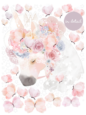 Unicorn and Butterflies Wall Sticker - in stock