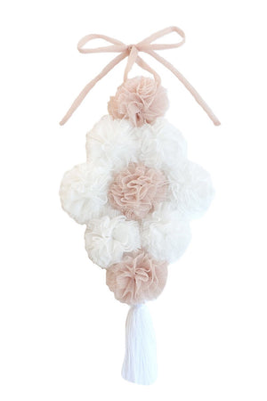 POM BOUQUET CANOPY GARLAND IN CHAMPAGNE & WHITE - 2 weeks delivery