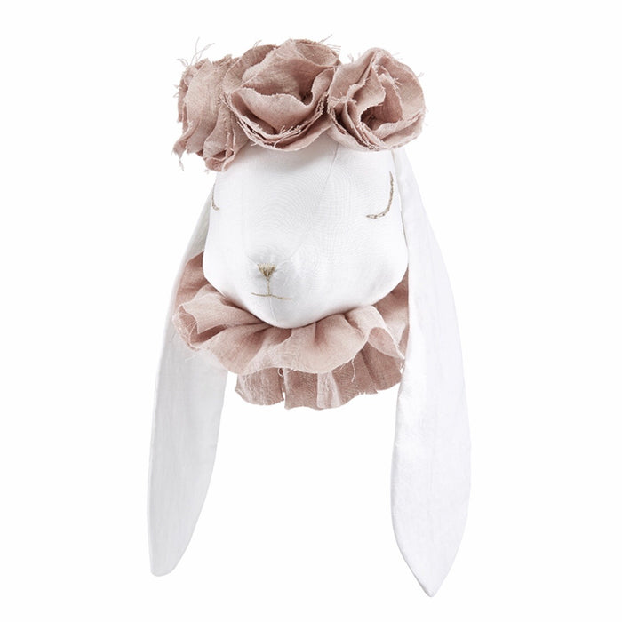 Rabbit Head linen with dusky pink flowers - 3 week delivery