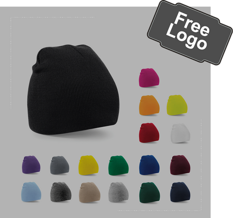 embroidered beanie hat, 18 colours, from £3.00 a hat
