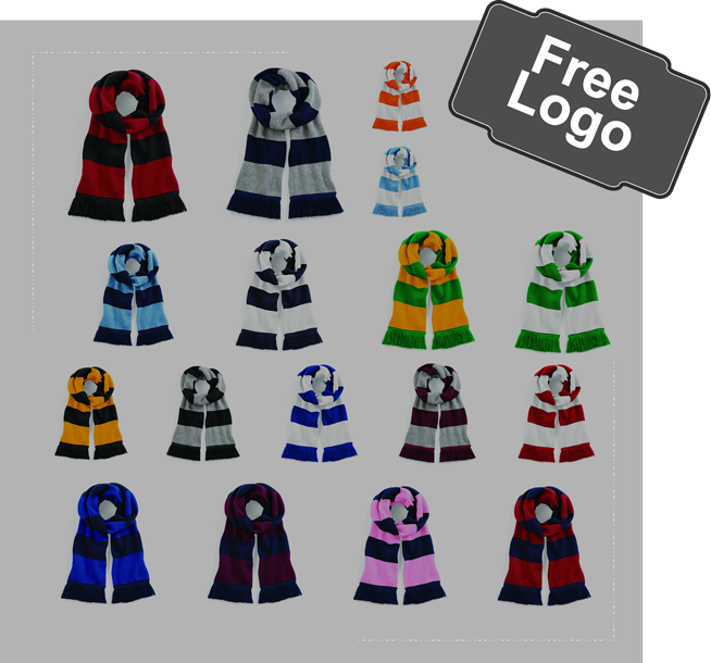 embroidered contrast scarfs, 187 colours available from £6.50 inc embroidery