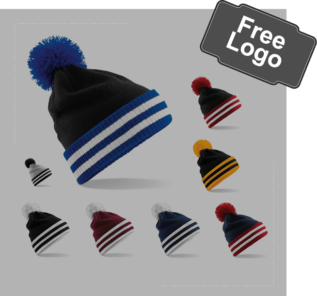 Contrast turn up Bobble Hat