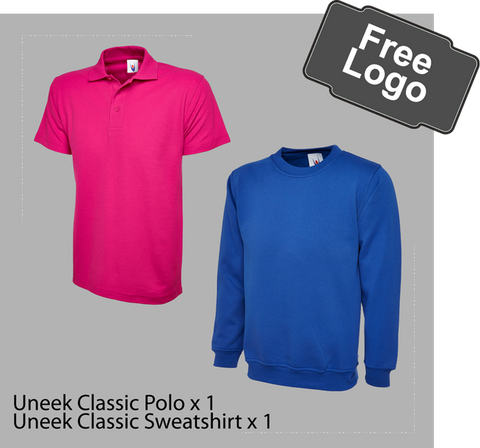 Workwear package, Poloshirt and sweatshirt free logo only £19.99