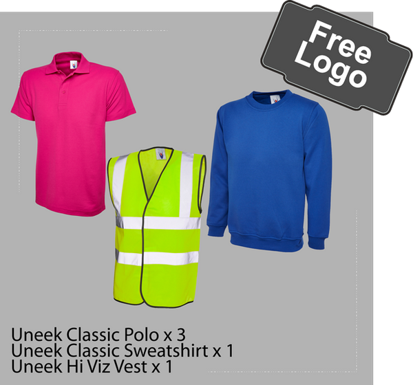 Workwear package deal, polo, sweatshirt, hi viz vest, free logo only £38.00