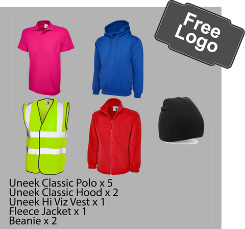 Workwear bundle pack, polo, hood,fleece,beanie,hi viz vest free logo