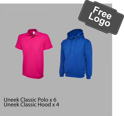 Workwear bundle pack, polo, hood, free logo