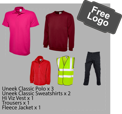 Workwear bundle pack, polo,sweatshirt,fleece,hi viz vest, trousers free logo