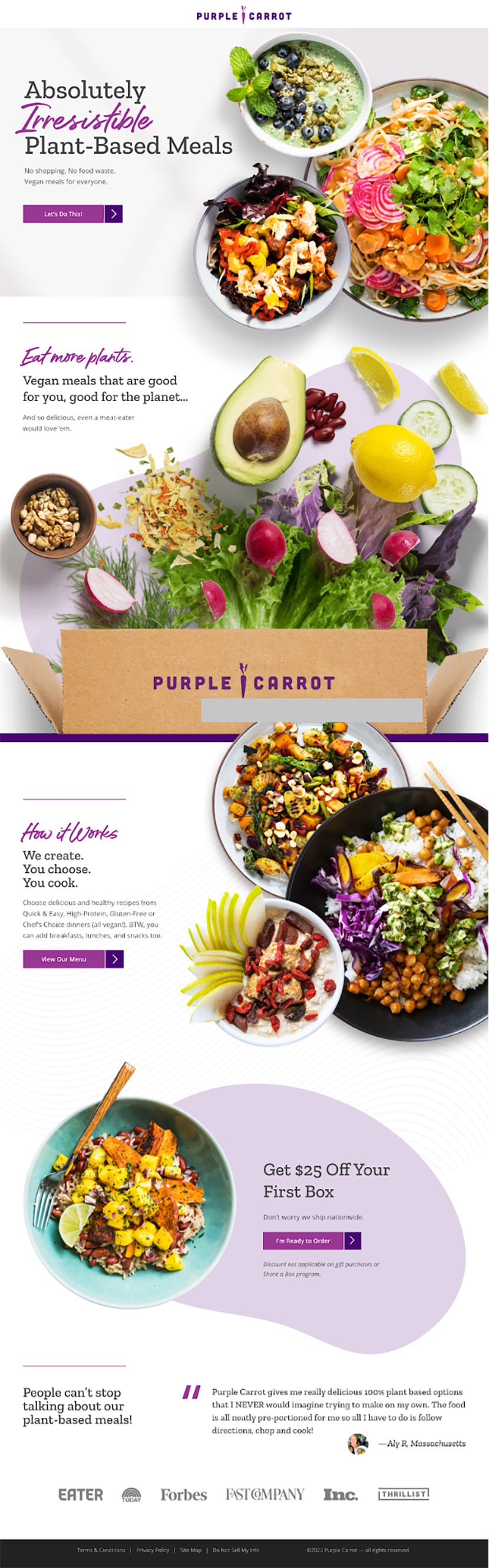 Purple Carrot landing page