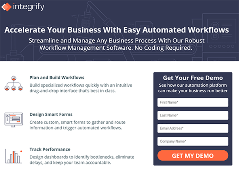 Version A of the Integrify landing page