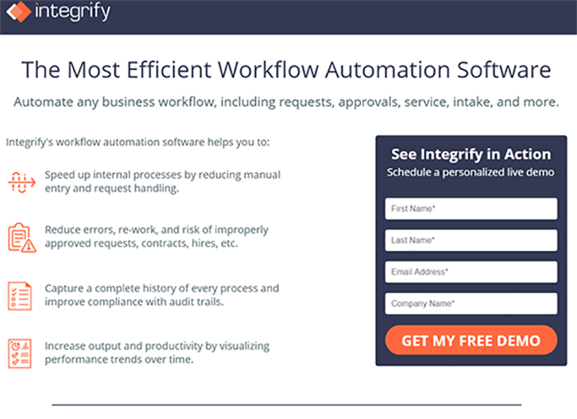 Integrify landing page version B