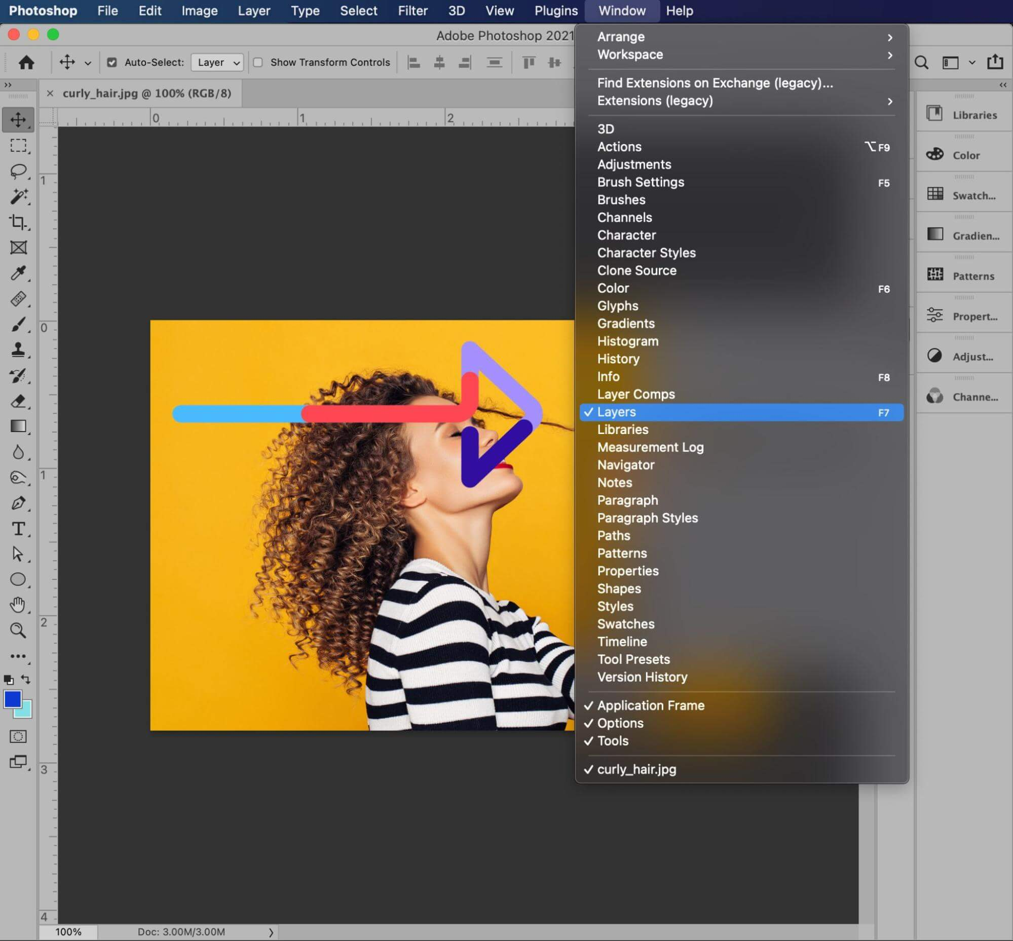 set up layers background hair