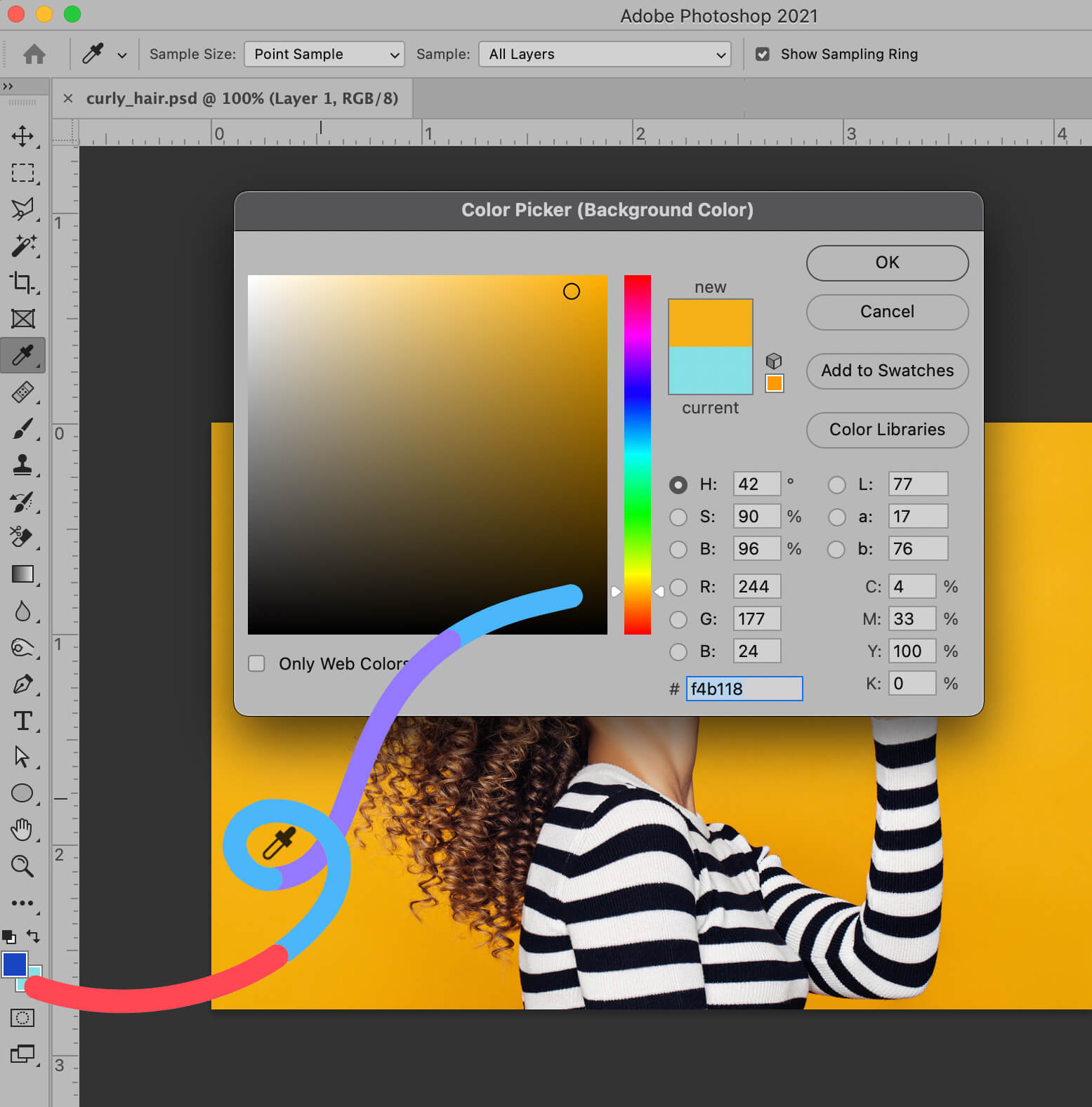 color picker background hair removal