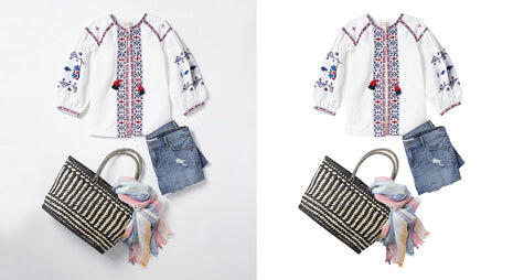 Woman product photos background removal before-after sample image done by Clipping Path India team