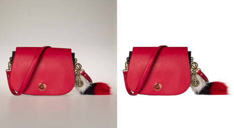 Background removal before-after image for woman bag