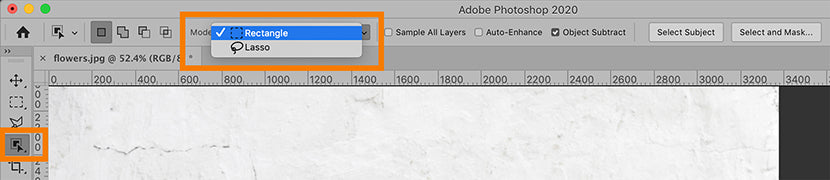 Photoshop CC 2020 object selection tool