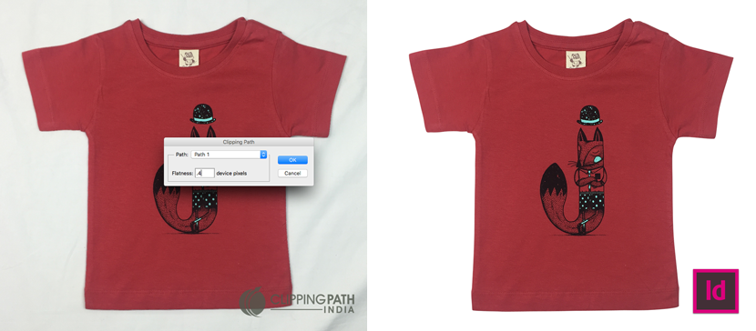 Clipping path sample shown in Indesign